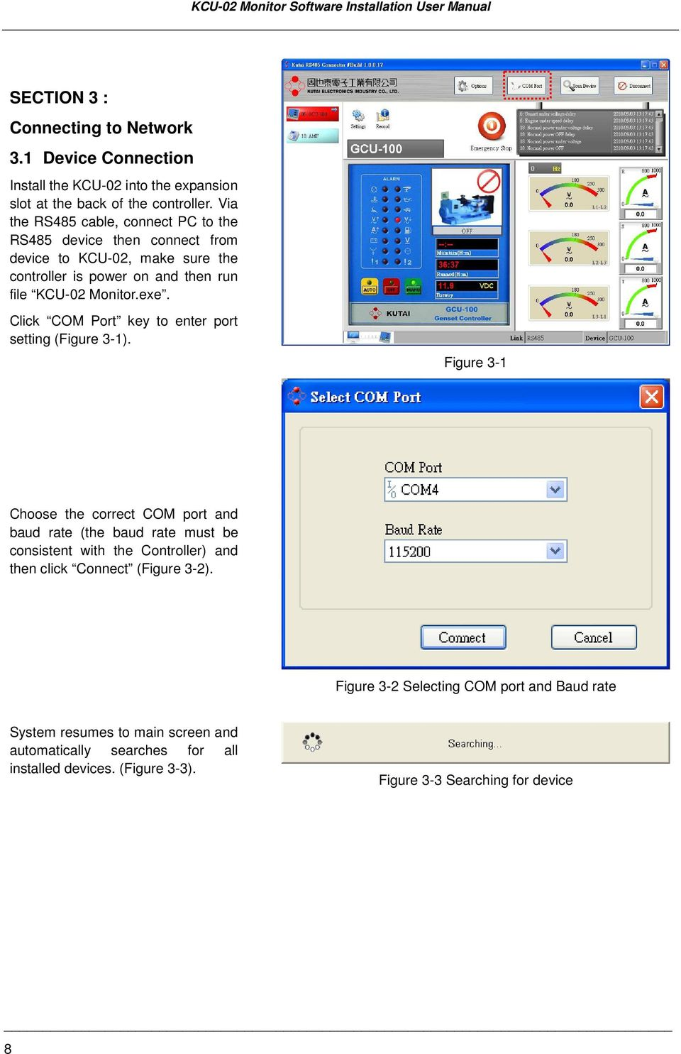 Click COM Port key to enter port setting (Figure 3-1).