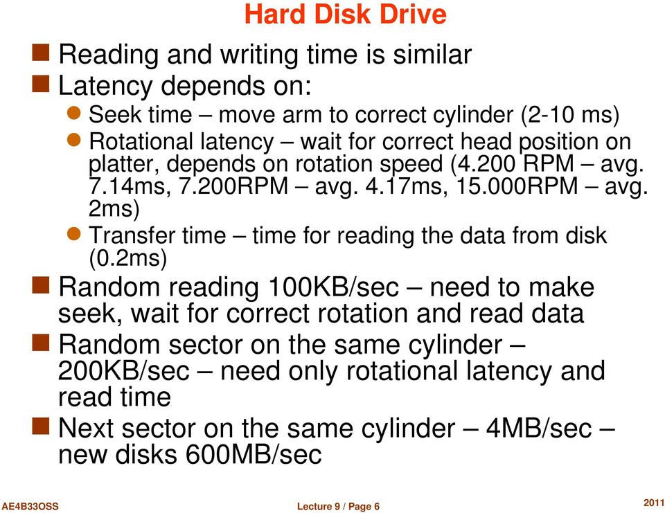 2ms) Transfer time time for reading the data from disk (0.