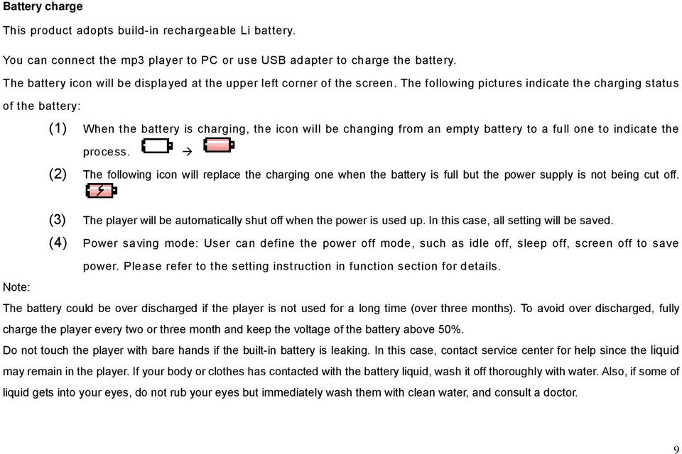 The following pictures indicate the charging status of the battery: (1) When the battery is charging, the icon will be changing from an empty battery to a full one to indicate the process.