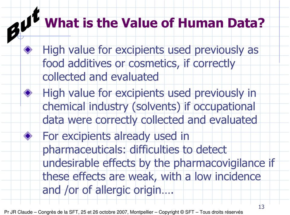 value for excipients used previously in chemical industry (solvents) if occupational data were correctly collected