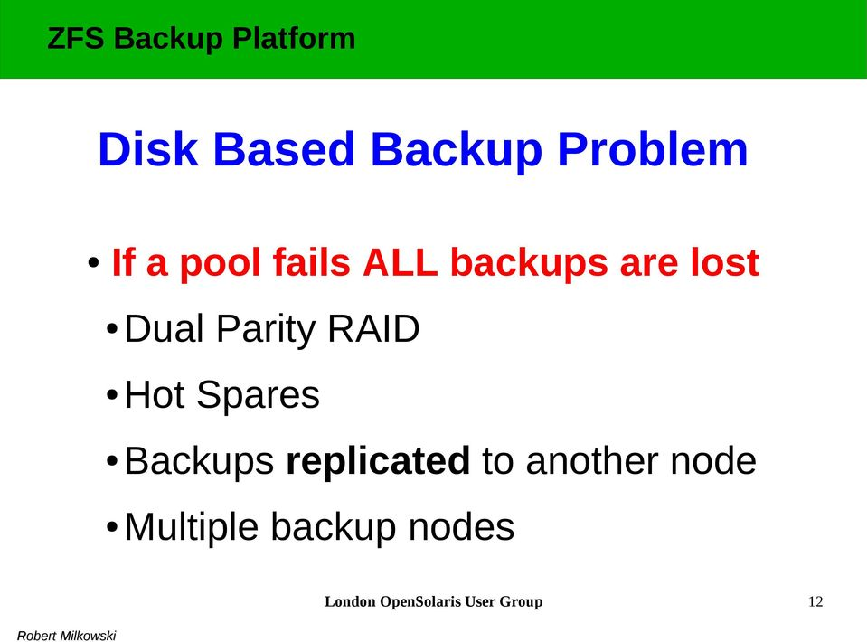 Spares Backups replicated to another node