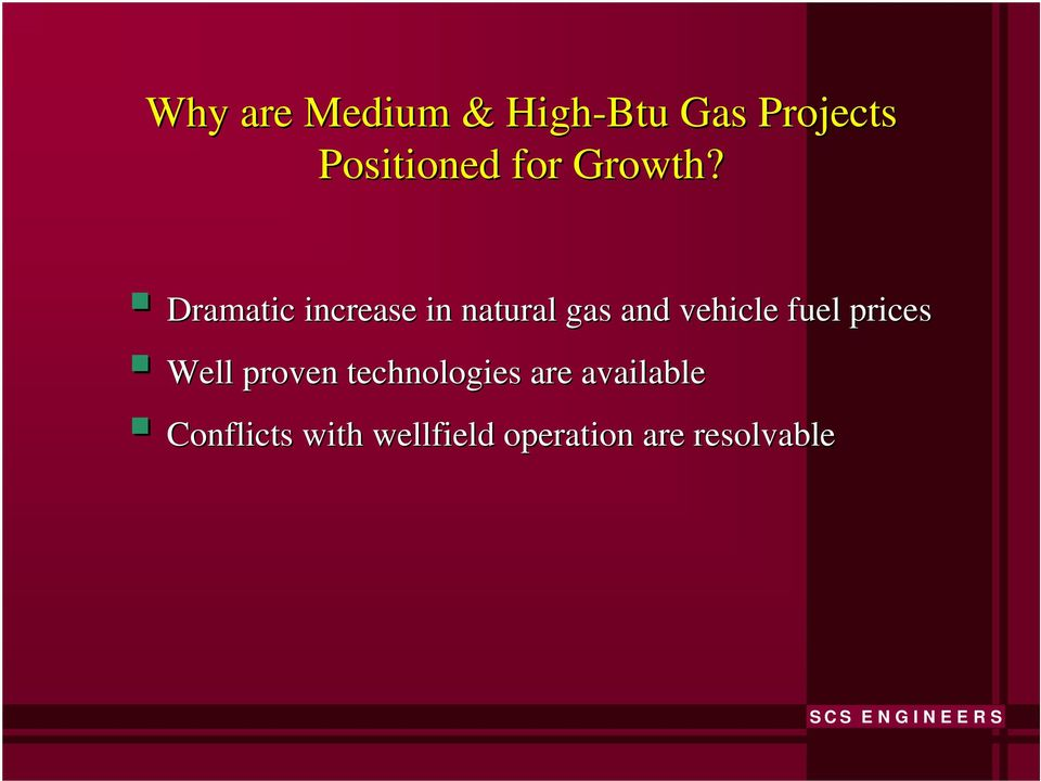 Dramatic increase in natural gas and vehicle fuel