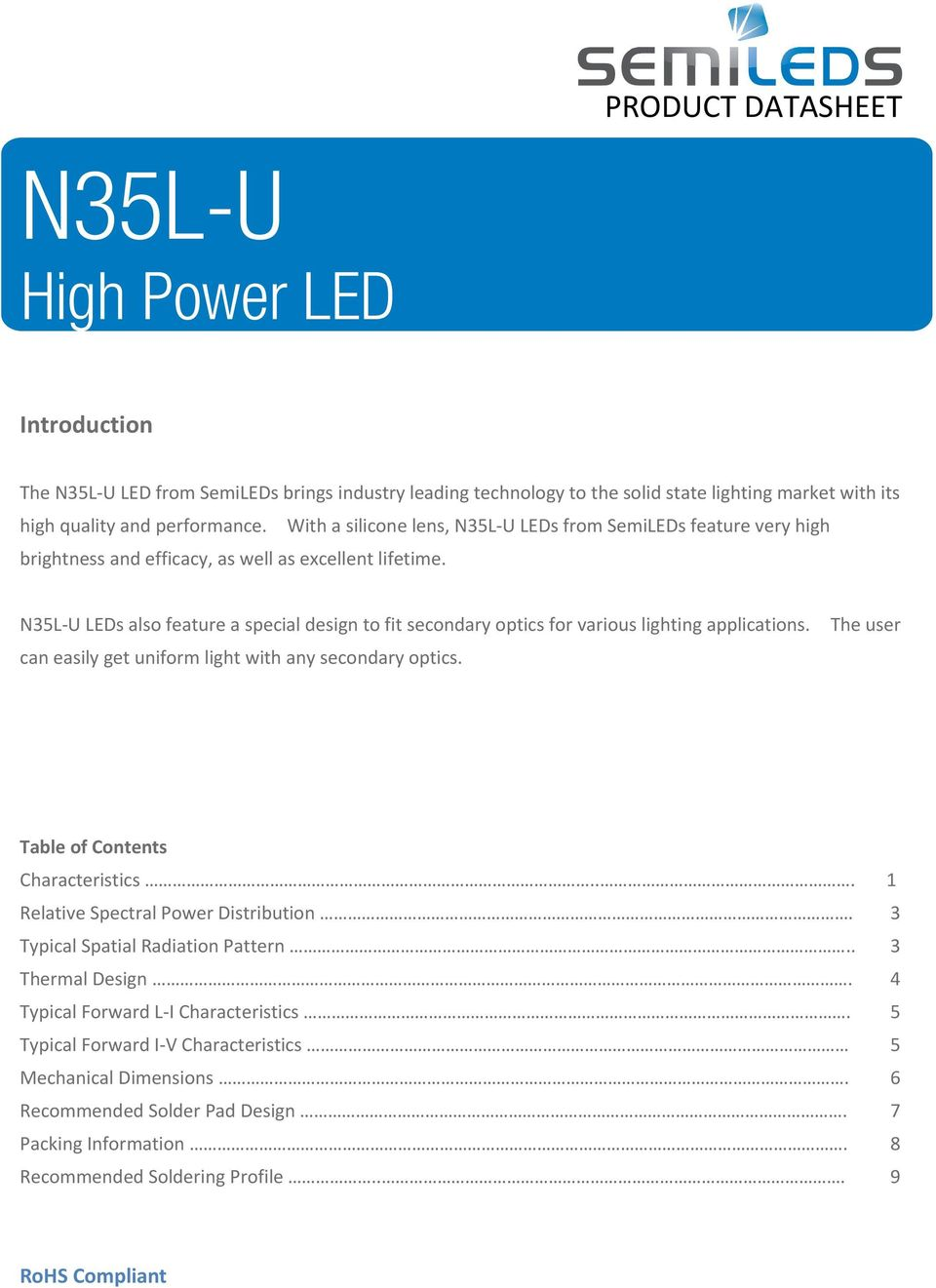 N35L-U LEDs also feature a special design to fit secondary optics for various lighting applications. can easily get uniform light with any secondary optics.