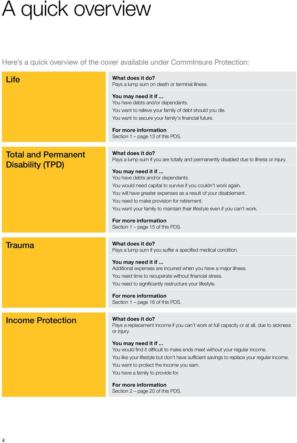 Total and Permanent Disability (TPD) What does it do? Pays a lump sum if you are totally and permanently disabled due to illness or injury. You may need it if... You have debts and/or dependants.