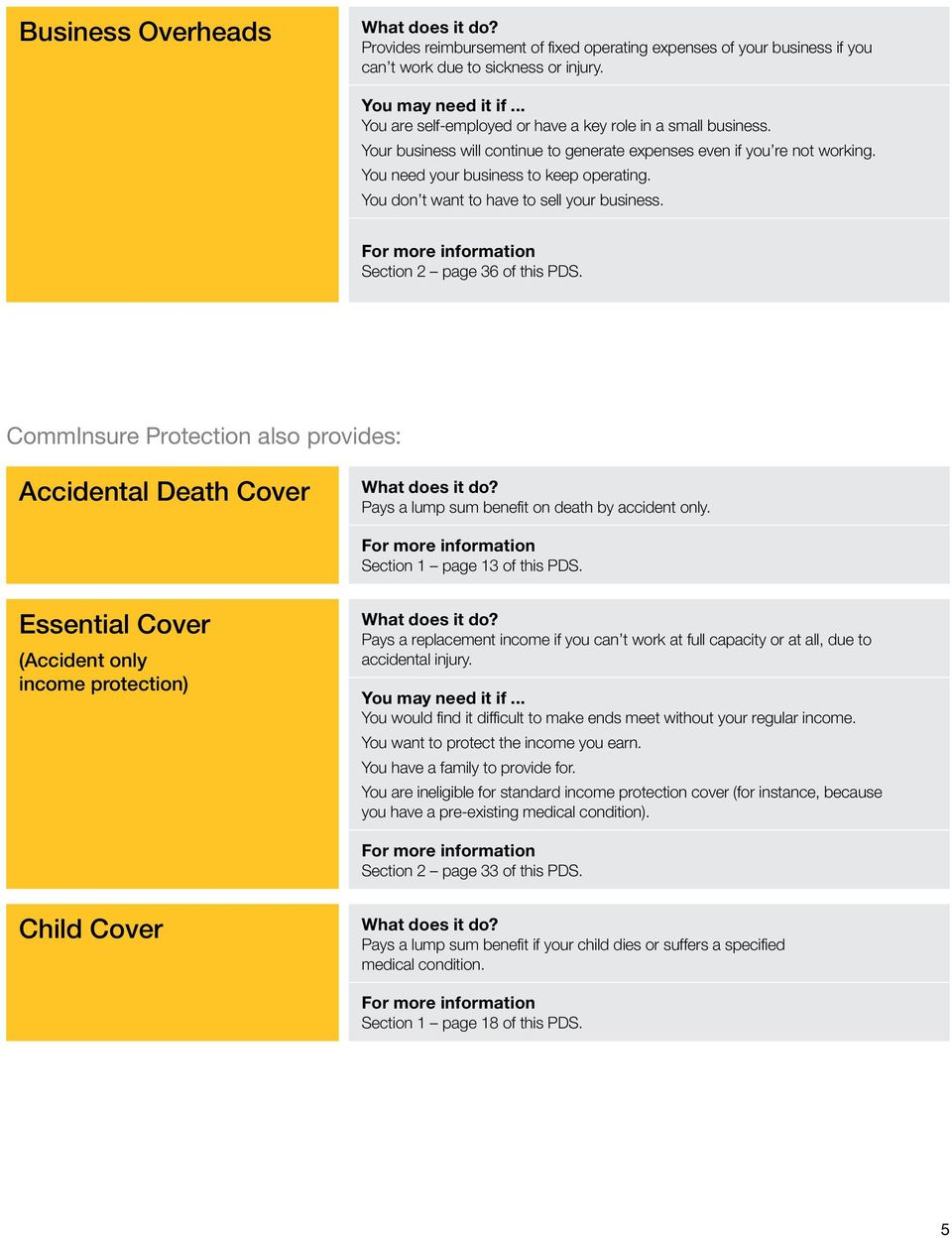 You don t want to have to sell your business. For more information Section 2 page 36 of this PDS. CommInsure Protection also provides: Accidental Death Cover What does it do?
