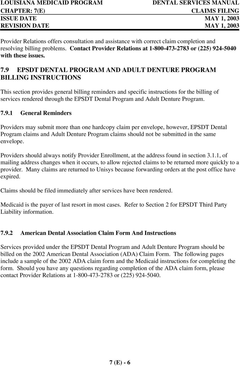 Dental Program and Adult Denture Program. 7.9.