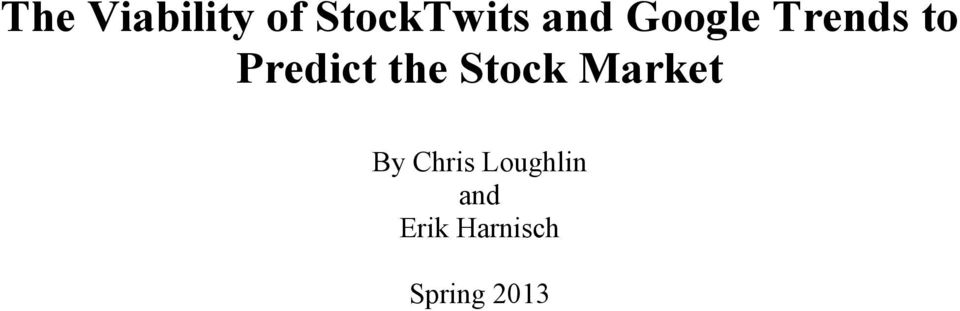 the Stock Market By Chris