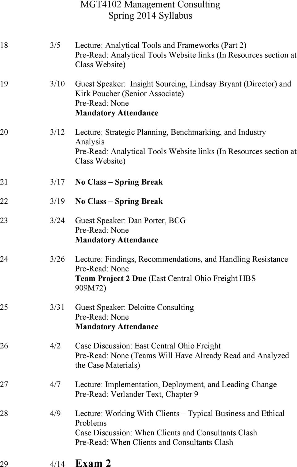 Website) 21 3/17 No Class Spring Break 22 3/19 No Class Spring Break 23 3/24 Guest Speaker: Dan Porter, BCG 24 3/26 Lecture: Findings, Recommendations, and Handling Resistance Team Project 2 Due