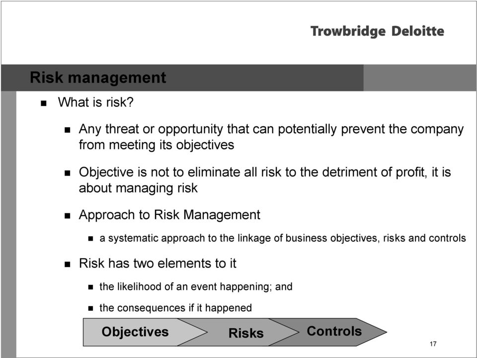 to eliminate all risk to the detriment of profit, it is about managing risk Approach to Risk Management a
