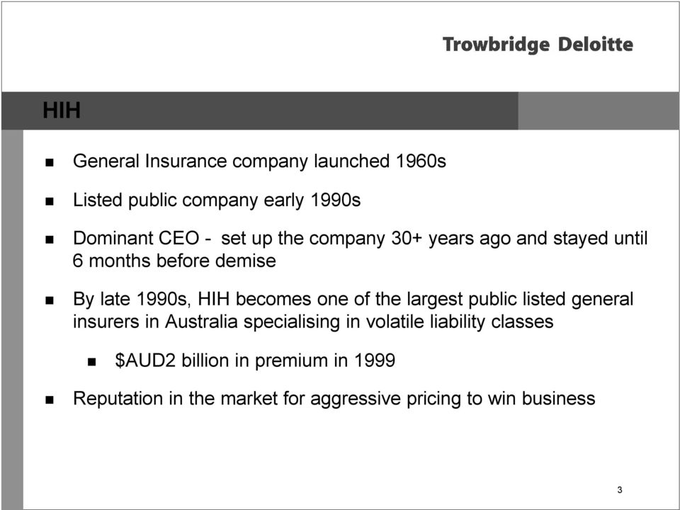 of the largest public listed general insurers in Australia specialising in volatile liability