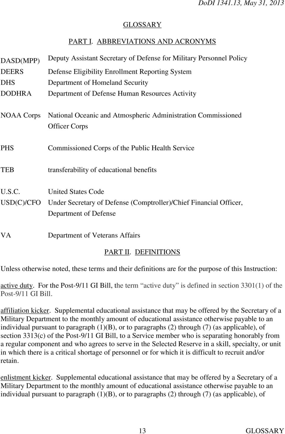 Security Department of Defense Human Resources Activity NOAA Corps National Oceanic and Atmospheric Administration Commissioned Officer Corps PHS Commissioned Corps of the Public Health Service TEB