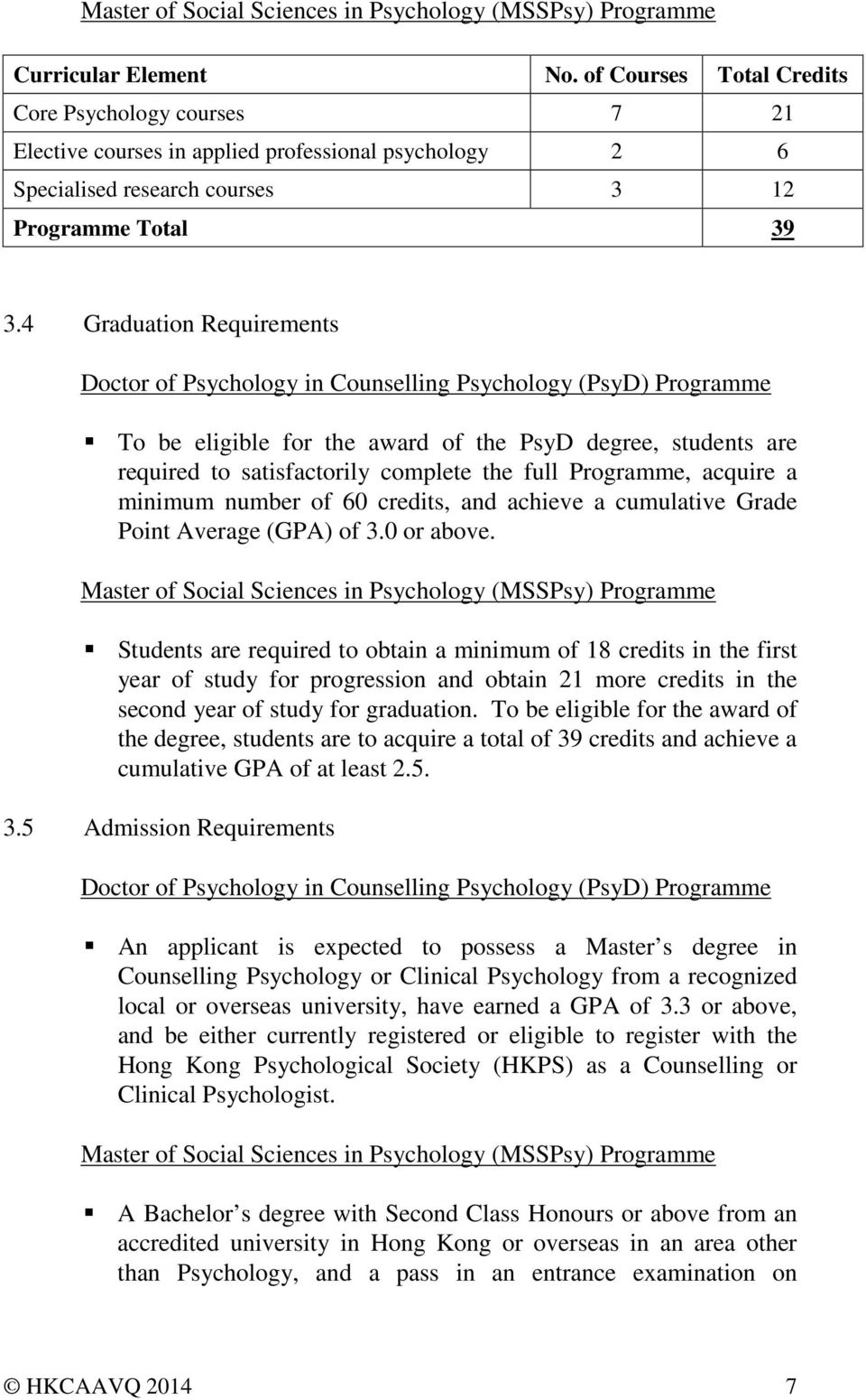 4 Graduation Requirements Doctor of Psychology in Counselling Psychology (PsyD) Programme To be eligible for the award of the PsyD degree, students are required to satisfactorily complete the full