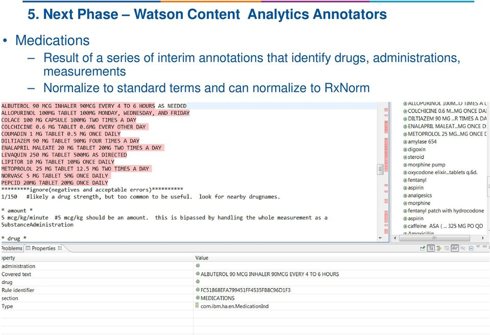 annotations that identify drugs, administrations,