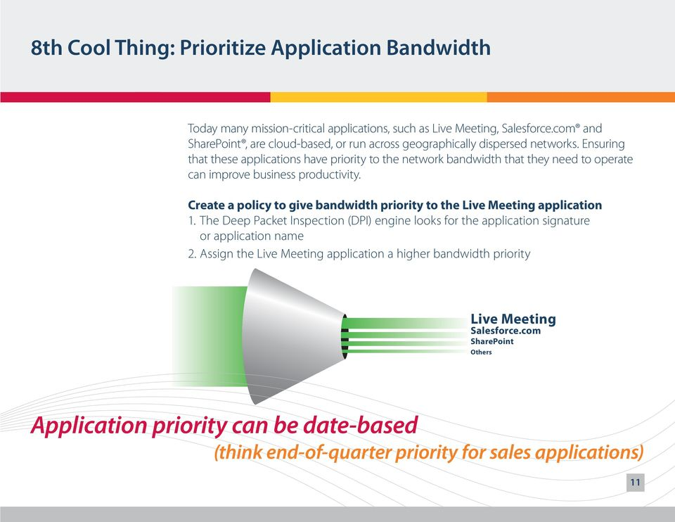 Ensuring that these applications have priority to the network bandwidth that they need to operate can improve business productivity.