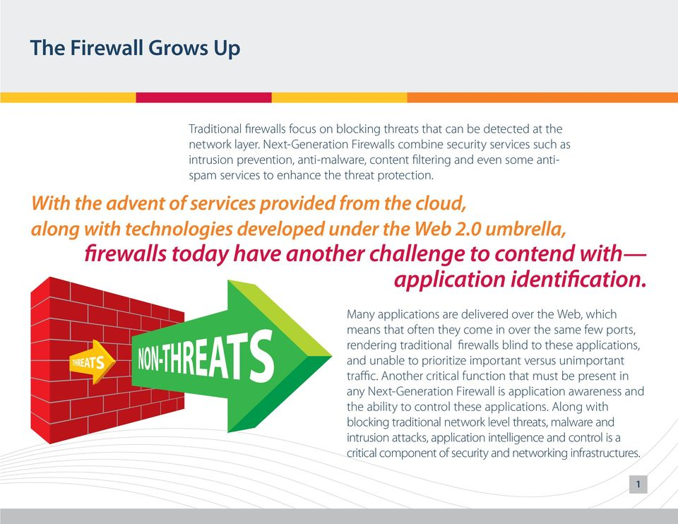 With the advent of services provided from the cloud, along with technologies developed under the Web 2.0 umbrella, firewalls today have another challenge to contend with application identification.