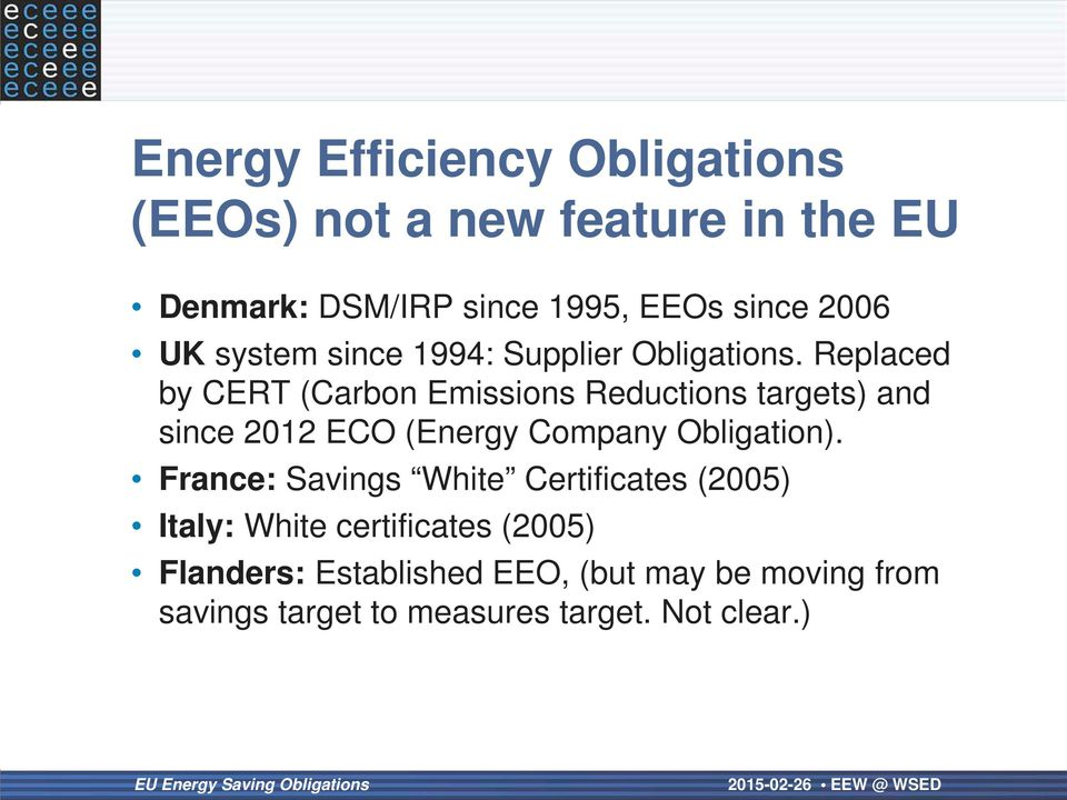 Replaced by CERT (Carbon Emissions Reductions targets) and since 2012 ECO (Energy Company Obligation).