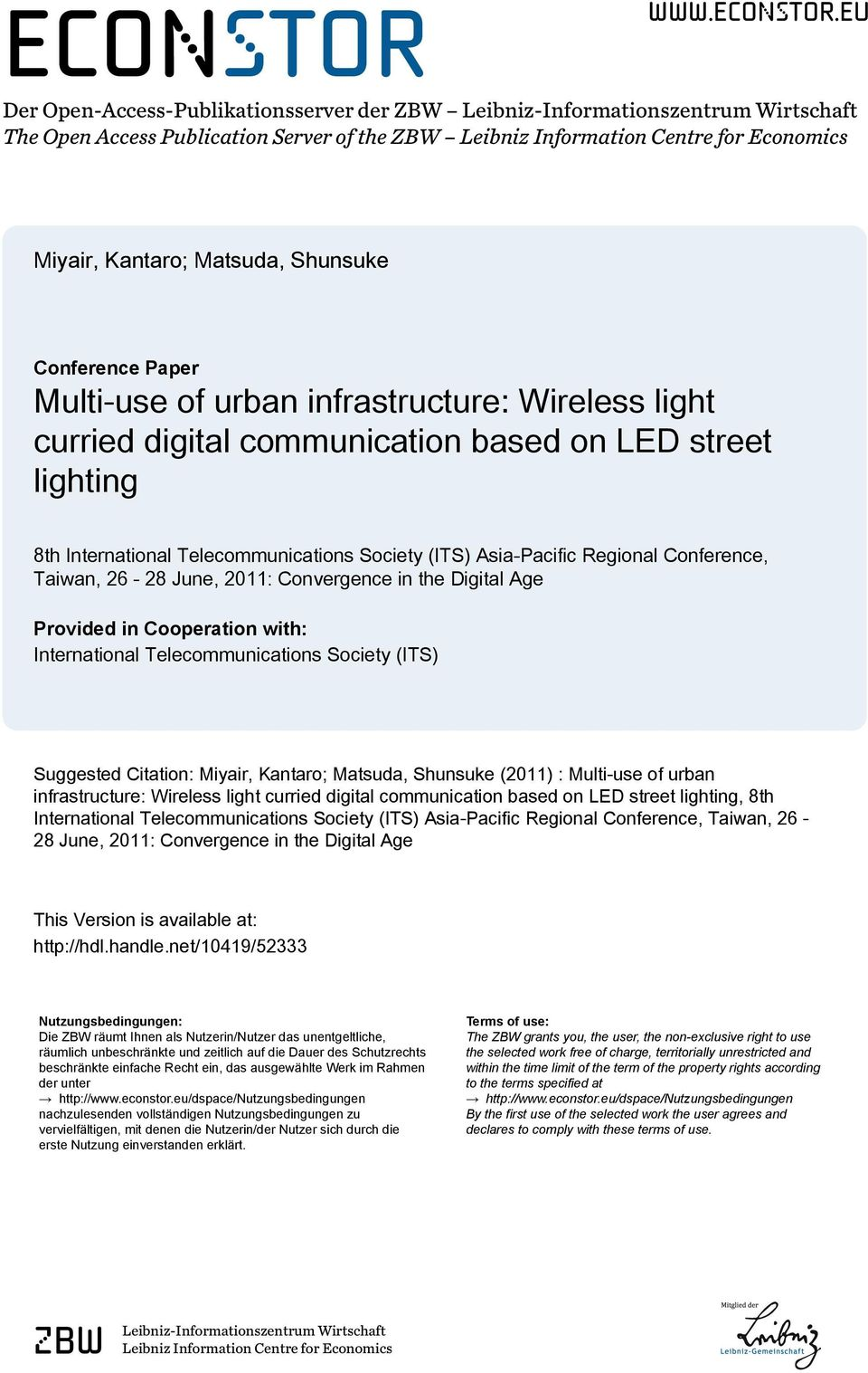 eu Der Open-Access-Publikationsserver der ZBW Leibniz-Informationszentrum Wirtschaft The Open Access Publication Server of the ZBW Leibniz Information Centre for Economics Miyair, Kantaro; Matsuda,