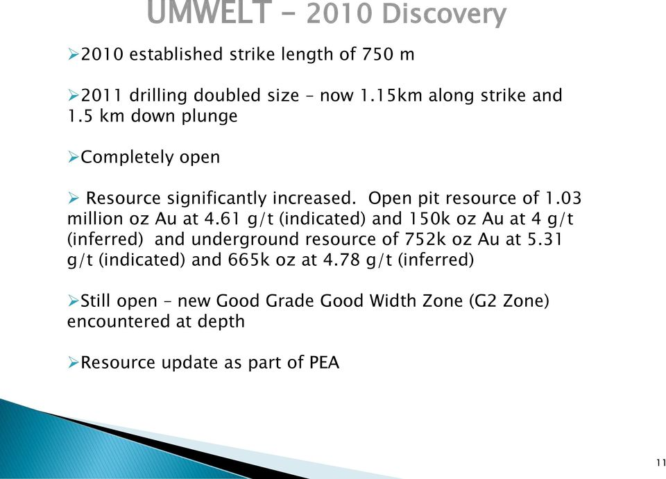 61 g/t (indicated) and 150k oz Au at 4 g/t (inferred) and underground resource of 752k oz Au at 5.