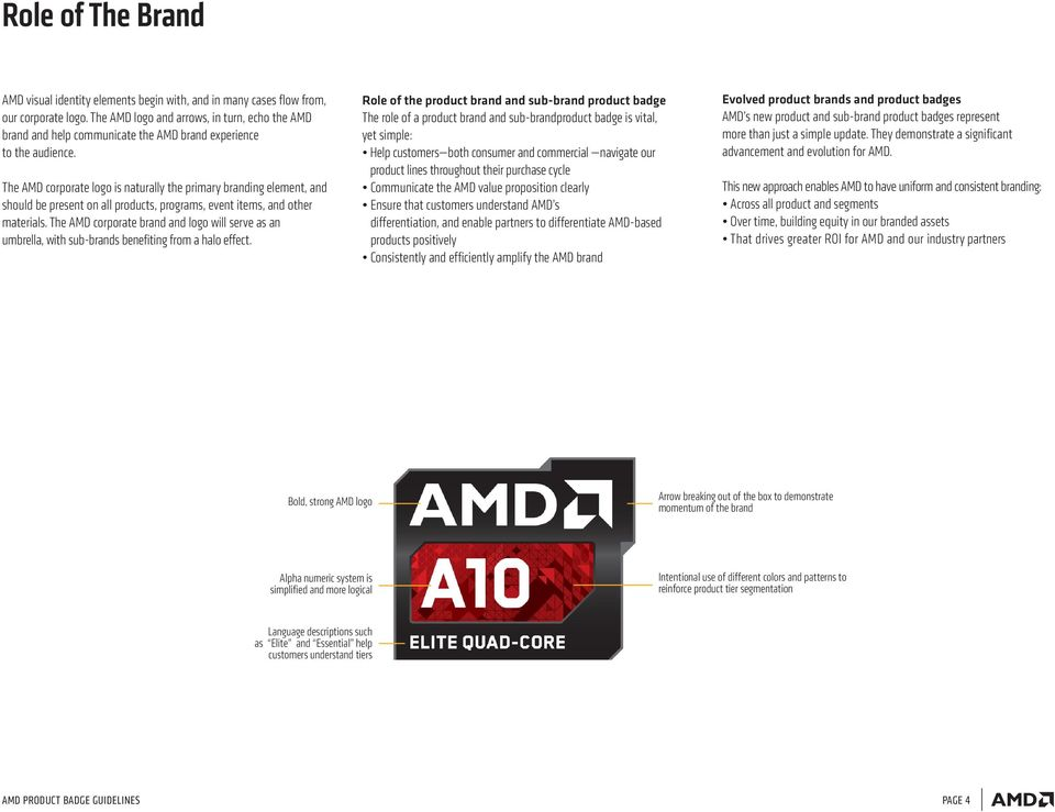 The AMD corporate logo is naturally the primary branding element, and should be present on all products, programs, event items, and other materials.