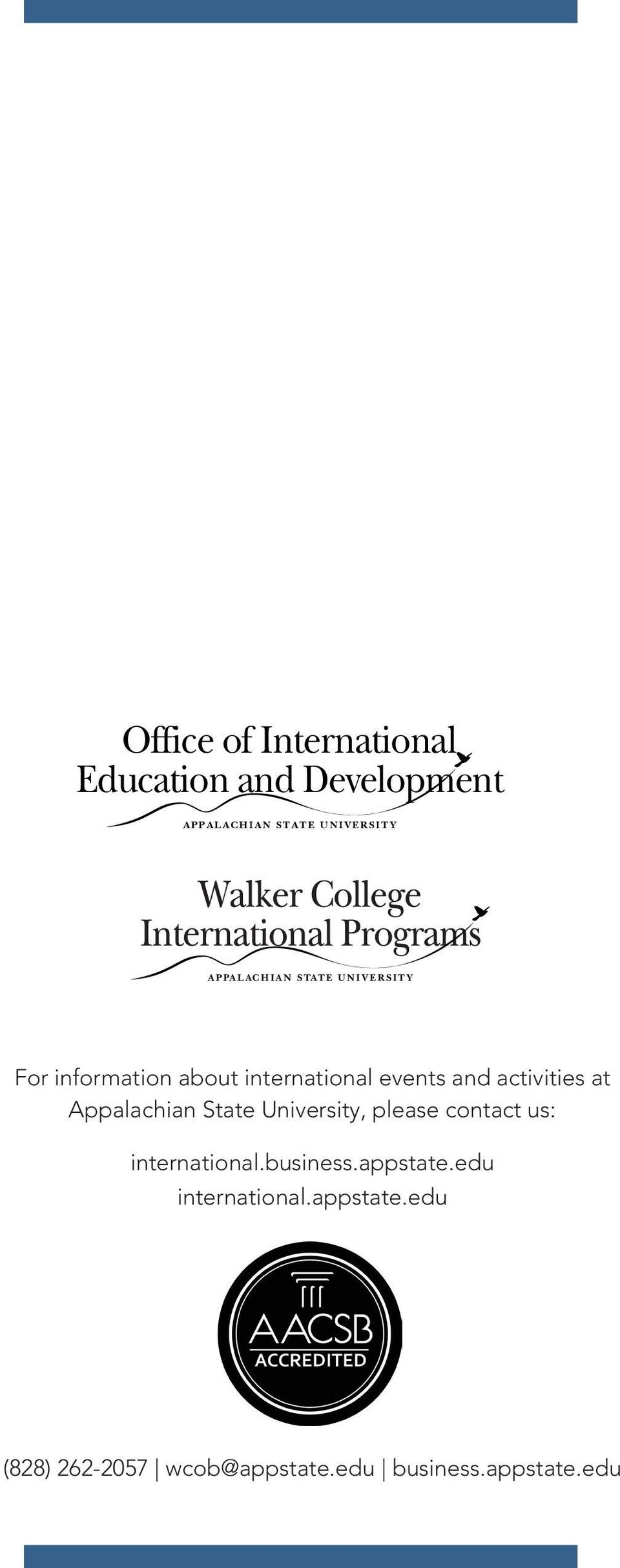 Appalachian State University, please contact us: international.business.