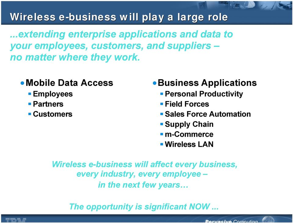 Mobile Data Access Employees Partners Customers Business Applications Personal Productivity Field Forces Sales