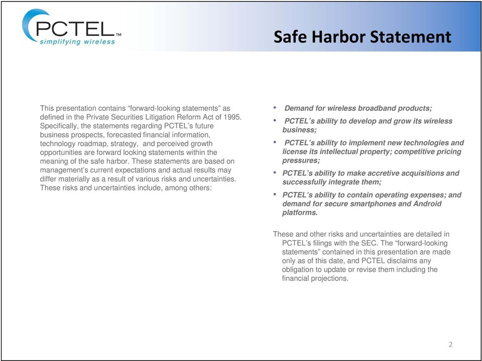 statements within the meaning of the safe harbor.