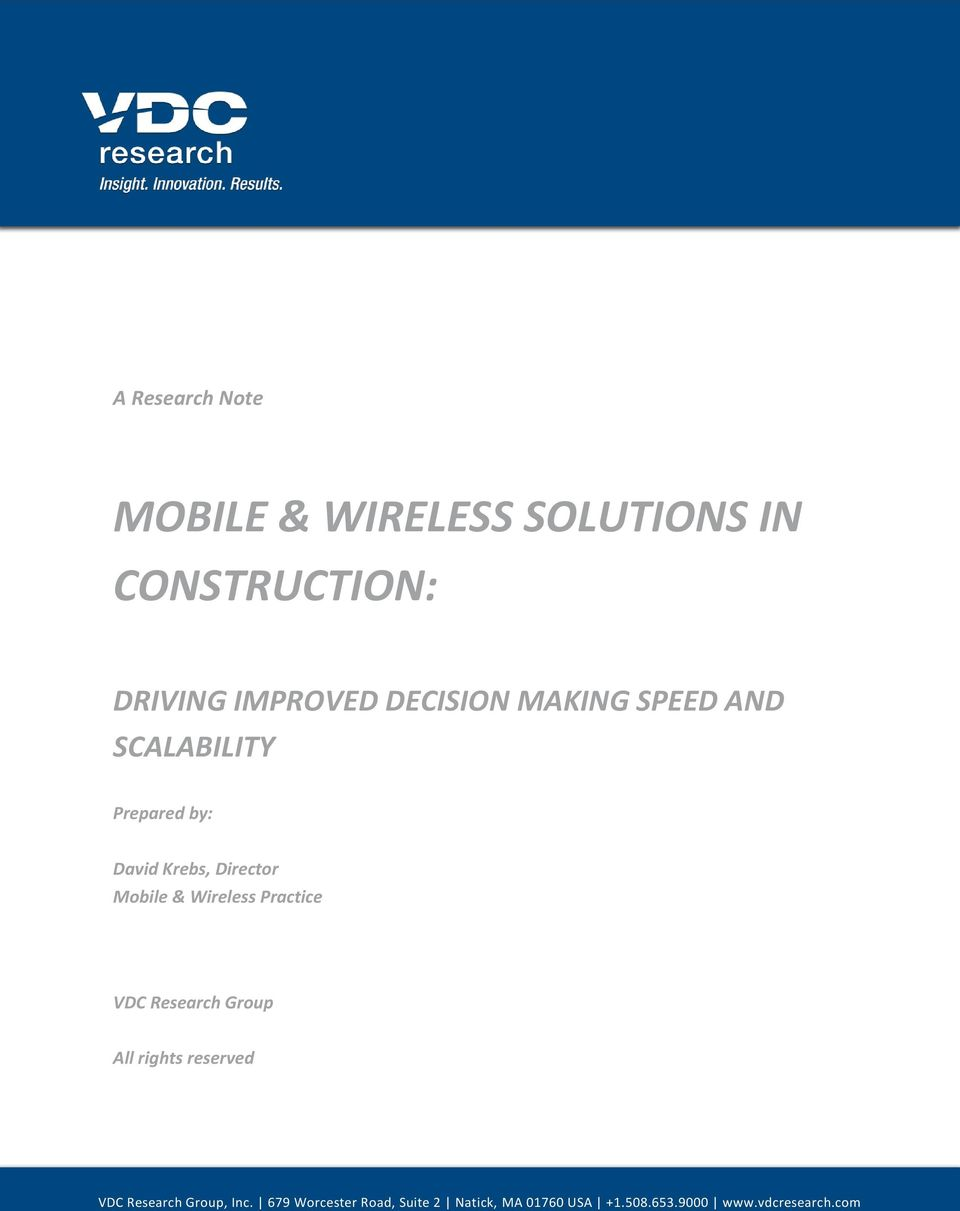 Wireless Practice VDC Research Group All rights reserved VDC Research Group, Inc.