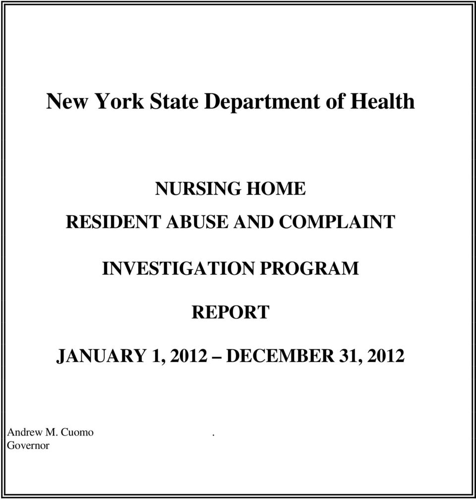 INVESTIGATION PROGRAM REPORT JANUARY 1,
