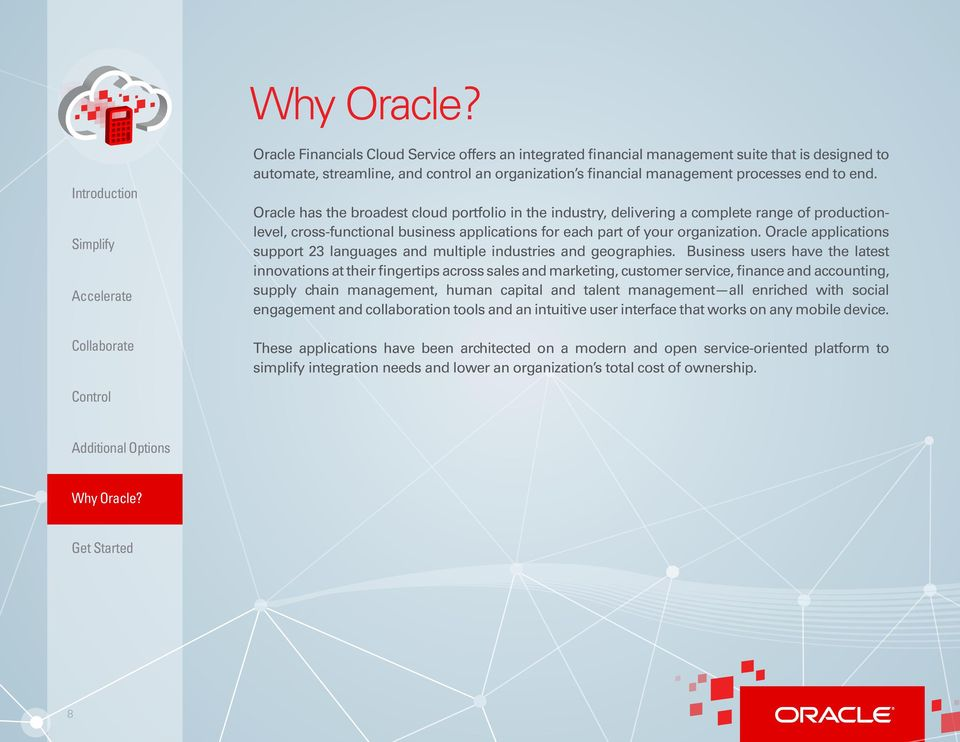 Oracle applications support 23 languages and multiple industries and geographies.
