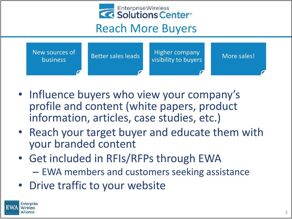 Influence buyers who view your company s profile and content (white papers, product information,