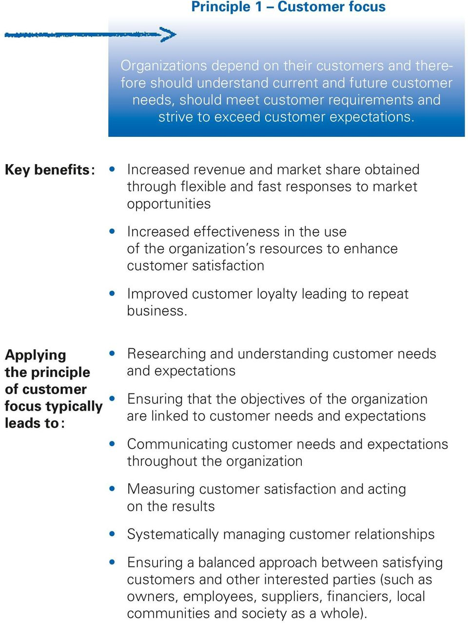 Increased revenue and market share obtained through flexible and fast responses to market opportunities Increased effectiveness in the use of the organization s resources to enhance customer