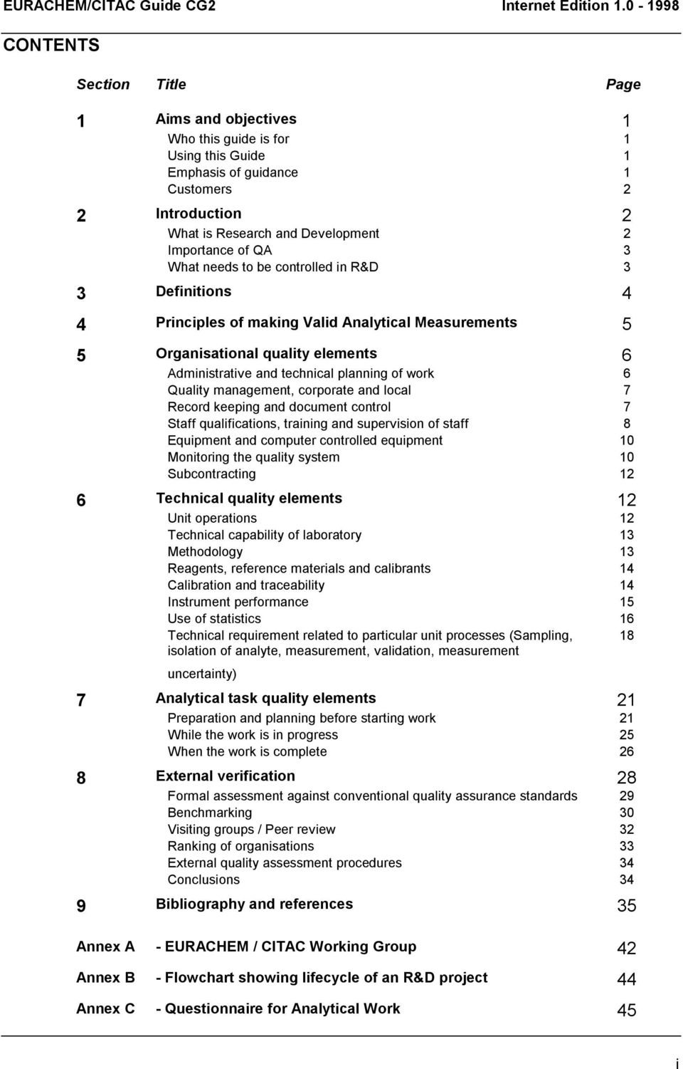 of QA 3 What needs to be controlled in R&D 3 3 Definitions 4 4 Principles of making Valid Analytical Measurements 5 5 Organisational quality elements 6 Administrative and technical planning of work 6