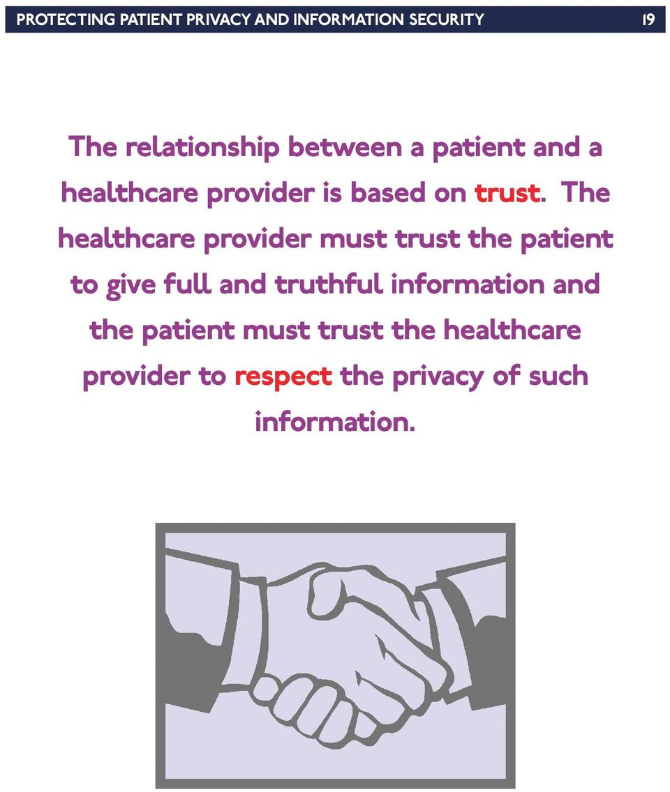 The healthcare provider must trust the patient to give full and truthful