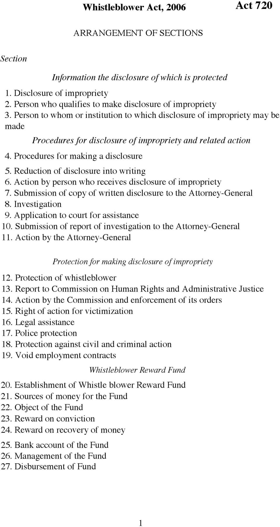 Procedures for making a disclosure 5. Reduction of disclosure into writing 6. Action by person who receives disclosure of impropriety 7.