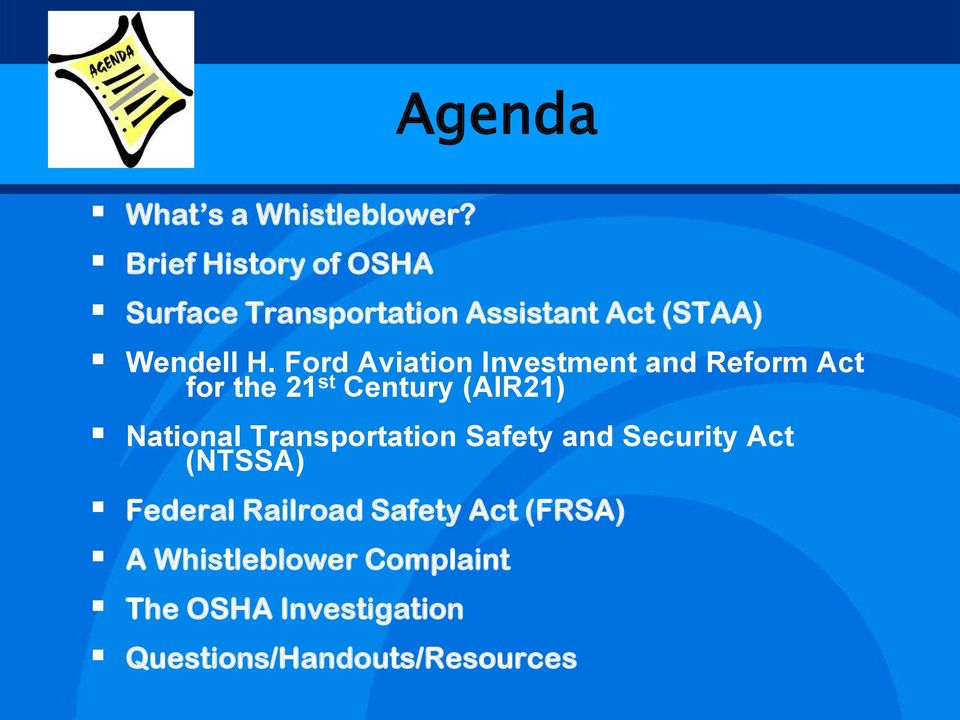 Ford Aviation Investment and Reform Act for the 21 st Century (AIR21) National