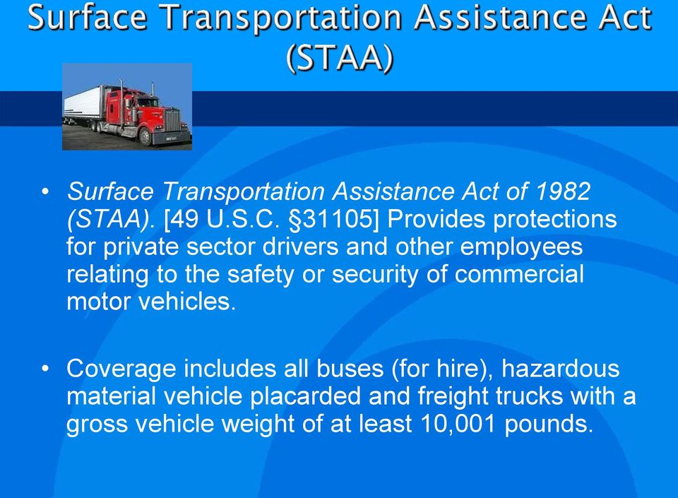 the safety or security of commercial motor vehicles.