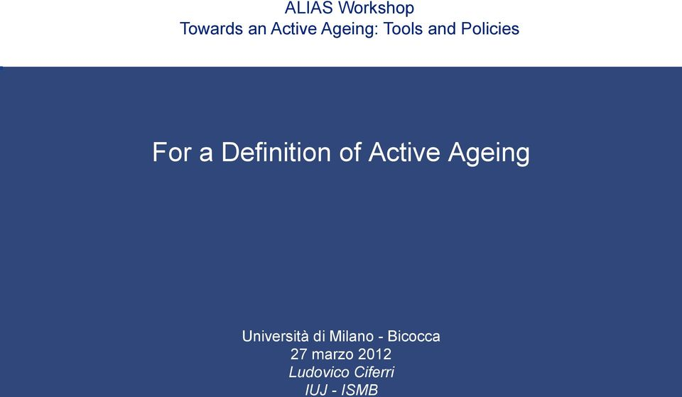 Active Ageing Università di Milano -