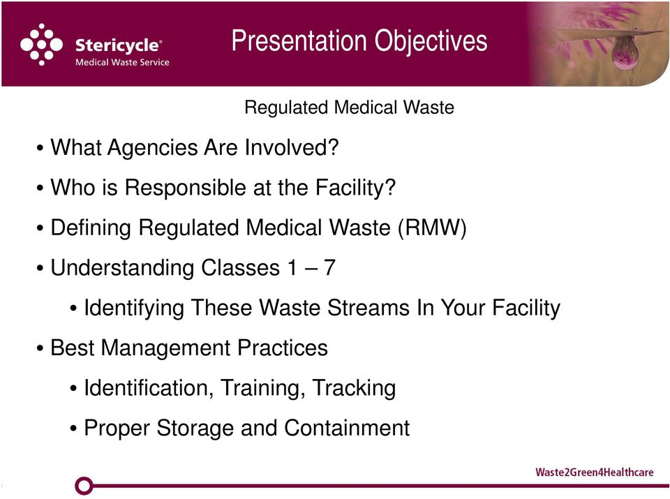 Defining Regulated Medical Waste (RMW) Understanding Classes 1 7 Identifying
