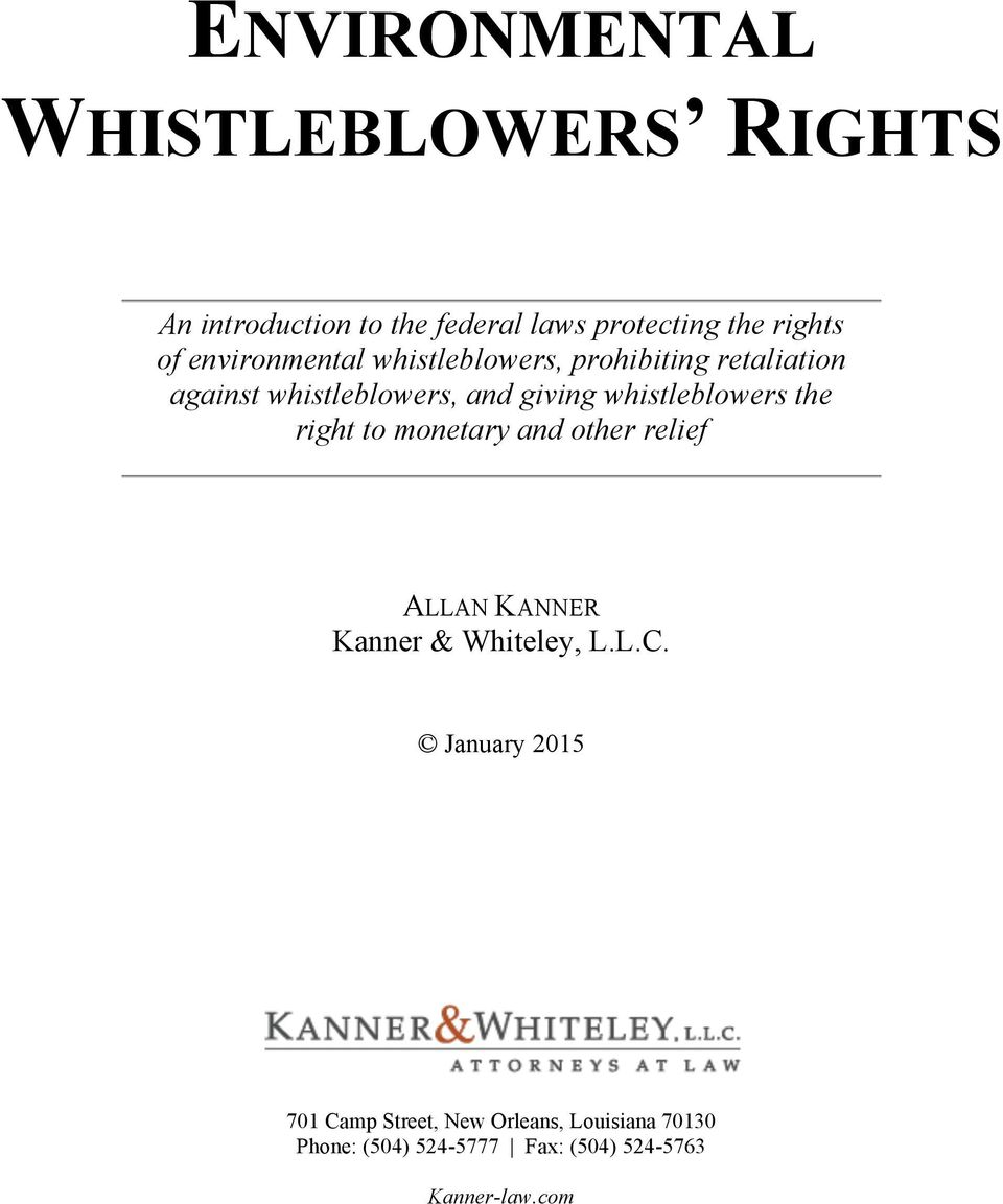 whistleblowers the right to monetary and other relief ALLAN KANNER Kanner & Whiteley, L.L.C.