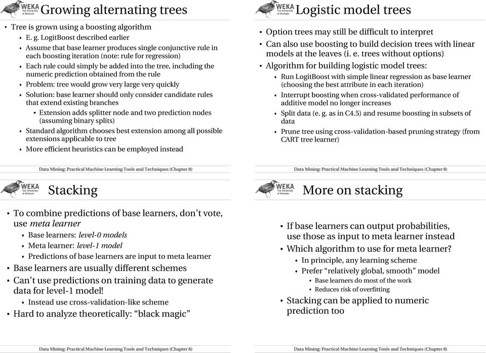 LogitBoost described earlier Assume that base learner produces single conjunctive rule in each boosting iteration (note: rule for regression) Each rule could simply be added into the tree, including