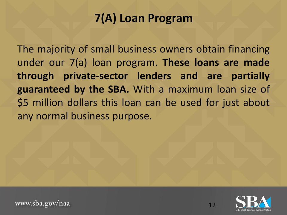 These loans are made through private-sector lenders and are partially