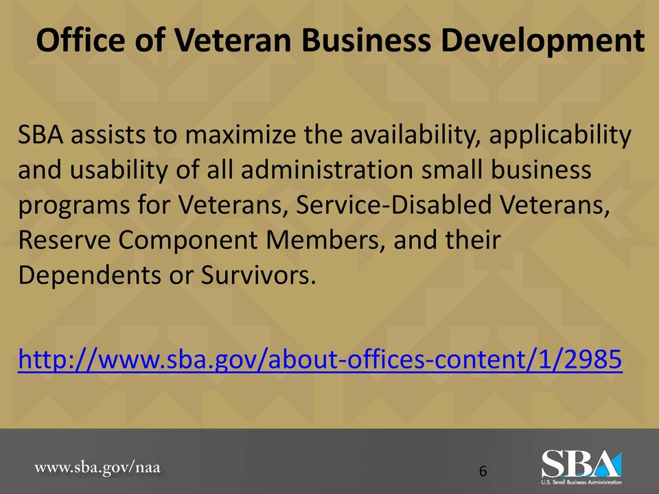 business programs for Veterans, Service-Disabled Veterans, Reserve Component