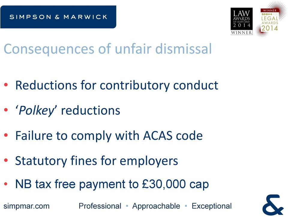 Failure to comply with ACAS code Statutory