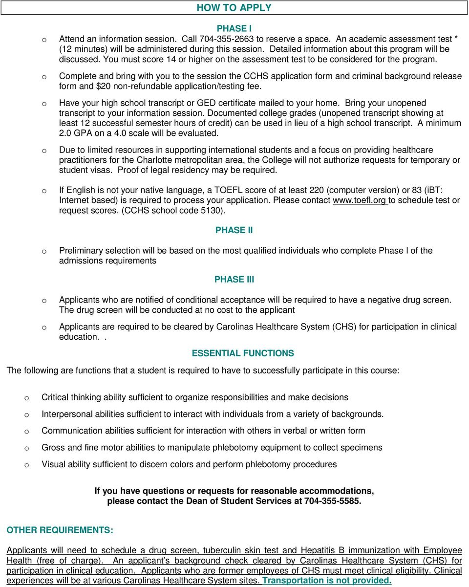 Carolinas college of health sciences phlebotomy program pdf cmplete and bring with yu t the sessin the cchs applicatin frm and criminal backgrund release 1betcityfo Images
