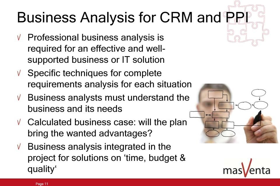 situation Business analysts must understand the business and its needs Calculated business case: will the