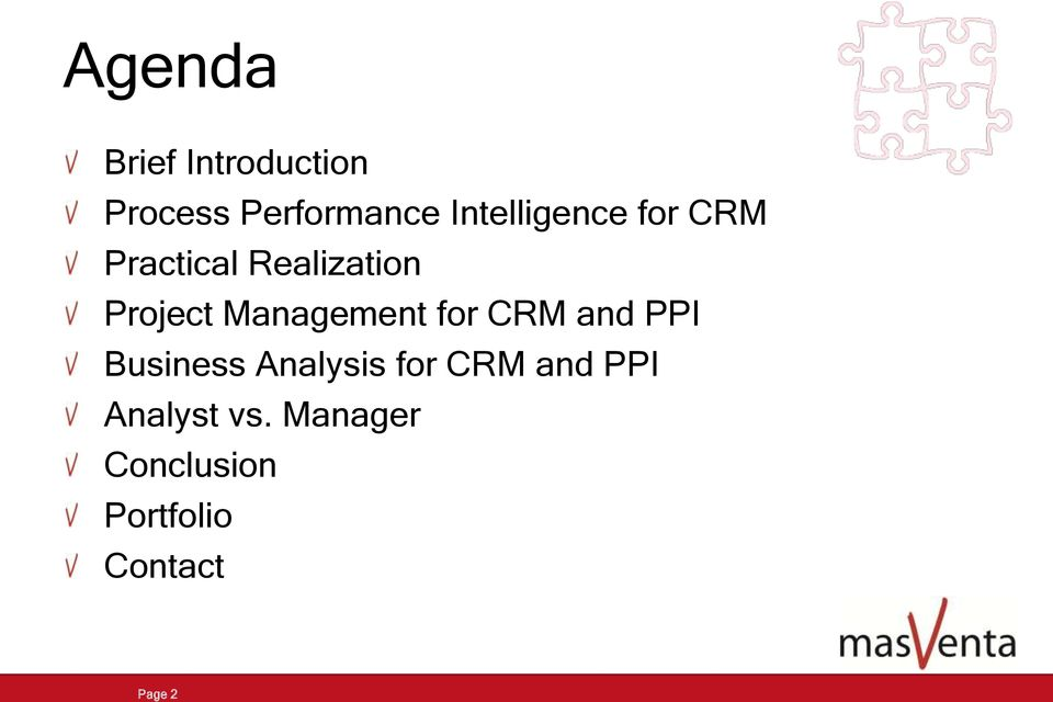 Management for CRM and PPI Business Analysis for CRM