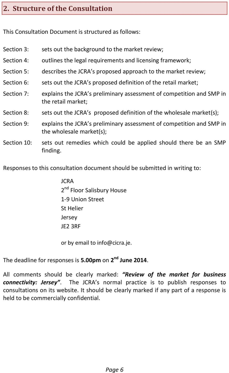 market; explains the JCRA s preliminary assessment of competition and SMP in the retail market; sets out the JCRA s proposed definition of the wholesale market(s); explains the JCRA s preliminary