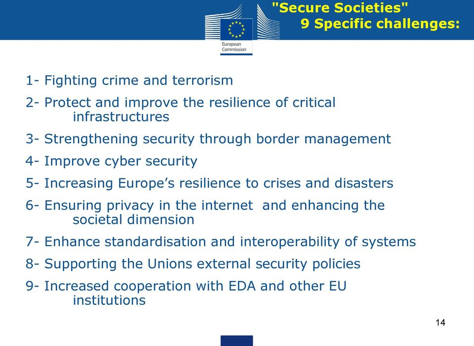 crises and disasters 6- Ensuring privacy in the internet and enhancing the societal dimension 7- Enhance standardisation and
