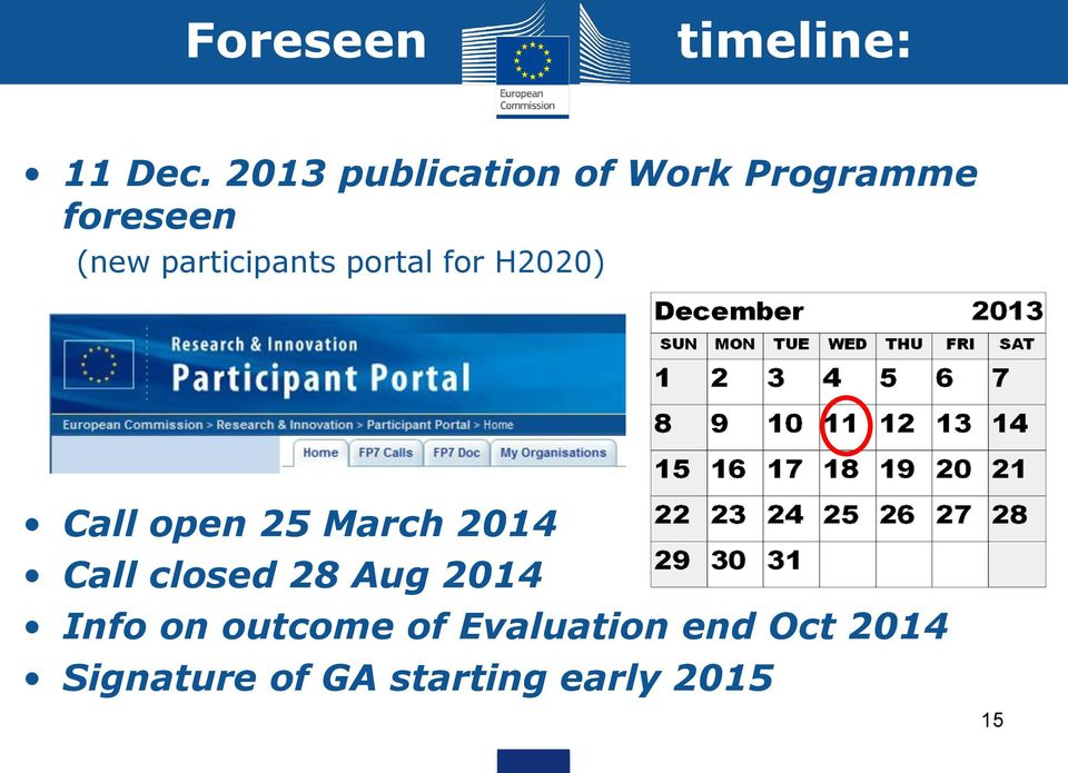 participants portal for H2020) Call open 25 March 2014