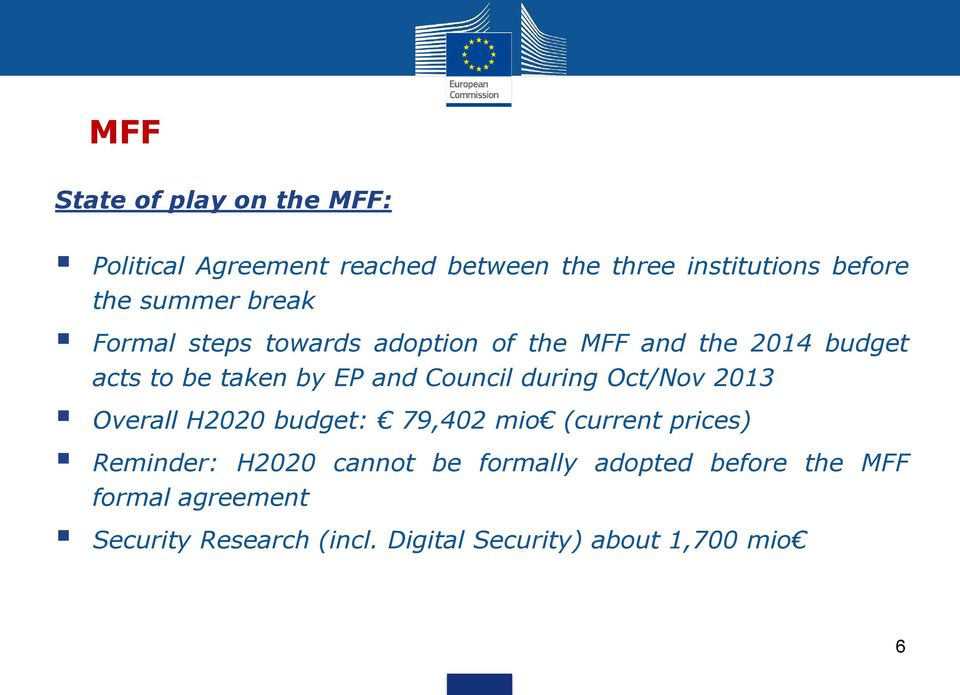 Council during Oct/Nov 2013 Overall H2020 budget: 79,402 mio (current prices) Reminder: H2020 cannot be